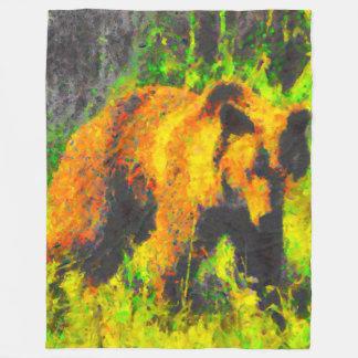 Grizzly in Field Fleece Blanket