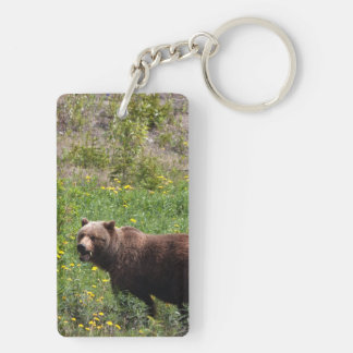 Grizzly in the Dandelions Keychain