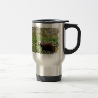 Grizzly in the Dandelions Travel Mug