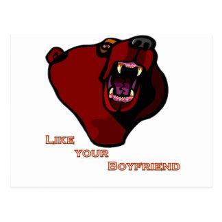"""Grizzly """"like your boyfriend"""" postcard"""