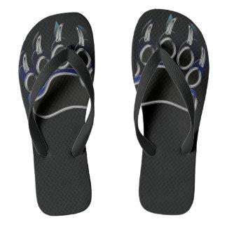 Grizzly Paw Black & Blue Flip Flops