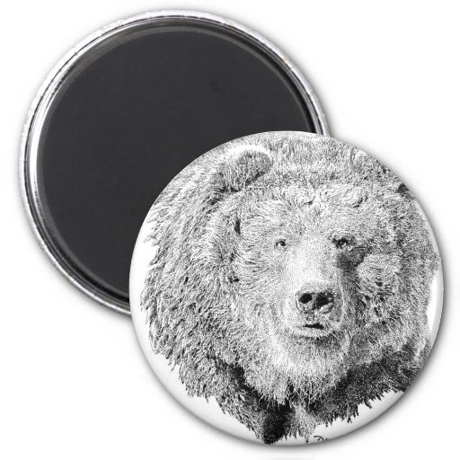 Grizzy Bear 2 Inch Round Magnet