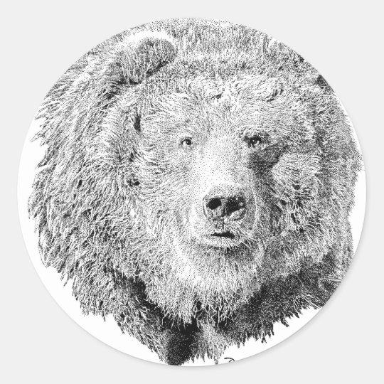 Grizzy Bear Classic Round Sticker