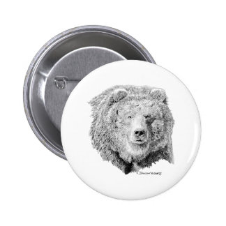 Grizzy Bear Pinback Button