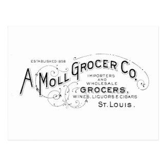 Grocer vintage typography design postcard