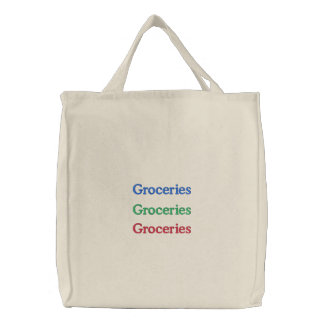 Groceries, Groceries, Groceries Embroidered Tote Bag