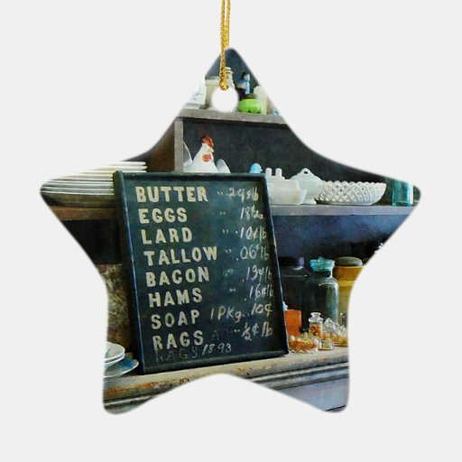 Groceries in General Store Double-Sided Star Ceramic Christmas Ornament