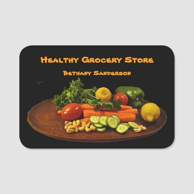Grocery and Health Food Store Name Tag