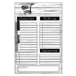Grocery and To Do List - White Wood Dry-Erase Board