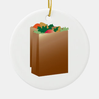 Grocery Bag Base Ceramic Ornament
