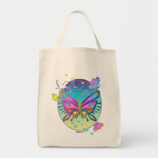 Grocery Bag, Tote - BUTTERFLY POP ART
