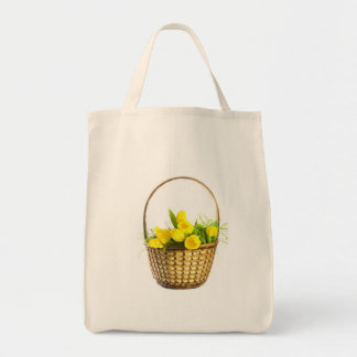 Grocery bag with yellow tulips