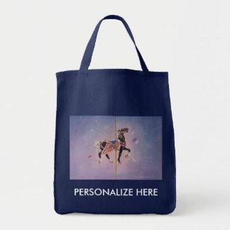 Grocery Bags, Totes - Petaluma Carousel Horse 2 Grocery Tote Bag