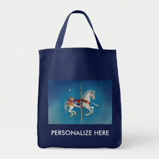Grocery Bags, Totes - Red, White & Blue Carousel Grocery Tote Bag