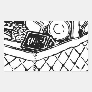 Grocery Basket Rectangular Sticker