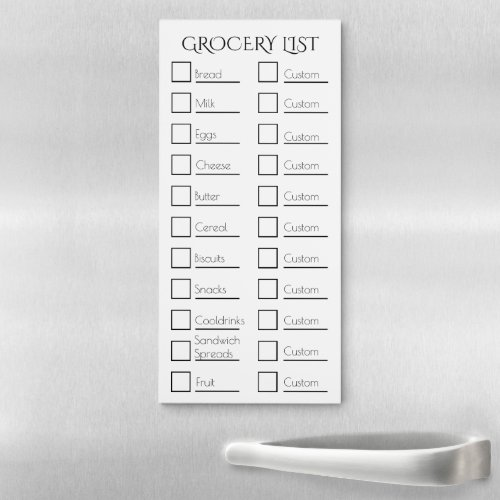 Grocery checklist CREATE YOUR OWN CUSTOM ONE Magnetic Notepad