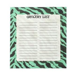 Grocery List Aqua Black Zebra Stripe Print Art Note Pad