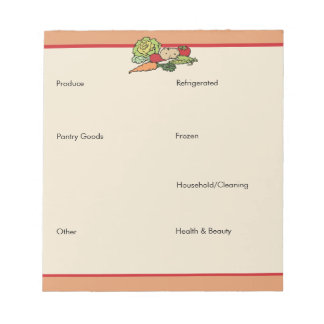Grocery List by Category Memo Pads