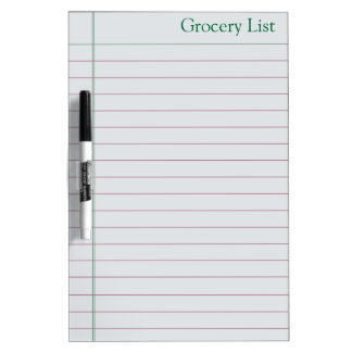 Grocery List for Shopping  Whiteboard