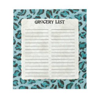 Grocery List Hot Pink Black Leopard Spot Print Art Notepad