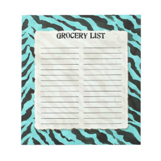 Grocery List Hot Pink Black Zebra Stripe Print Art Notepad
