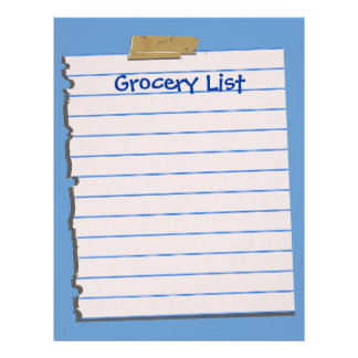 Grocery List Letterhead Stationery