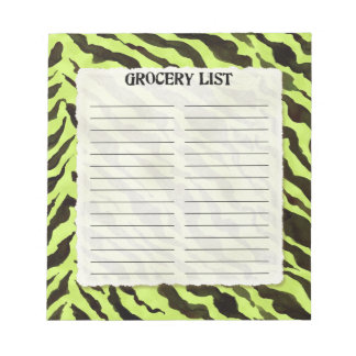Grocery List Lime Black Zebra Stripe Print Art Notepad