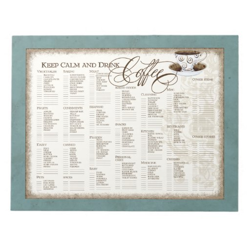 Grocery List Pad - Keep Calm and Drink Coffee Cup Note Pads