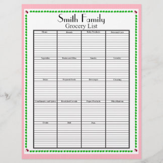 Grocery List Page, Personalized