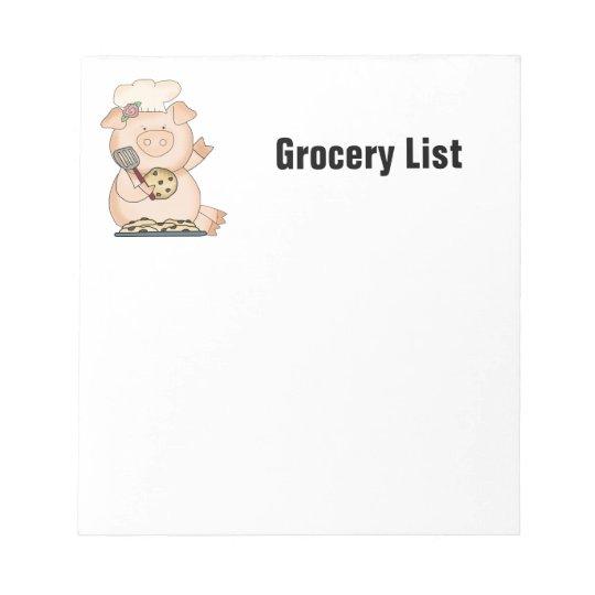 Grocery List Piggy Notepad
