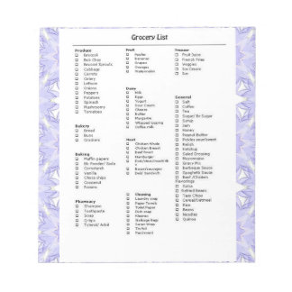Grocery List Reminder with Pattern Purple Note Pad
