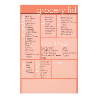 grocery list stationery