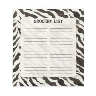Grocery List White Black Zebra Stripe Print Art Notepad