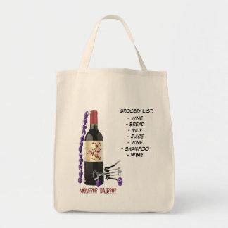 Grocery List:, - wine- bread- milk- ju... Tote Bag