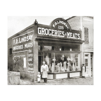 Grocery & Meat Market, 1916 Canvas Print
