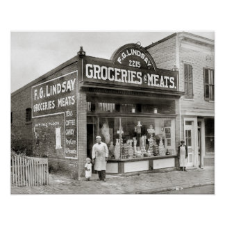 Grocery & Meat Market, 1916. Vintage Photo Poster