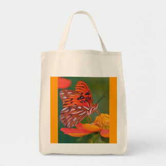 Grocery ReUseable Tote Featuring Orange Butterfly Canvas Bags