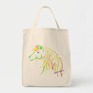 Grocery shopping tote with colorful horse drawing