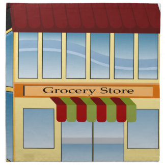 Grocery Store Building Icon Napkin