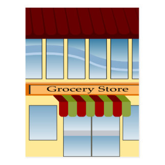 Grocery Store Building Icon Postcard