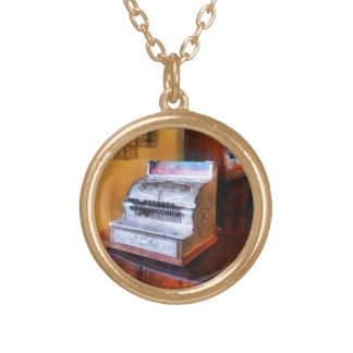 Grocery Store Cash Register Gold Plated Necklace