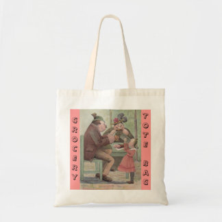 Grocery Tote Bag Design Antique pc art family dine