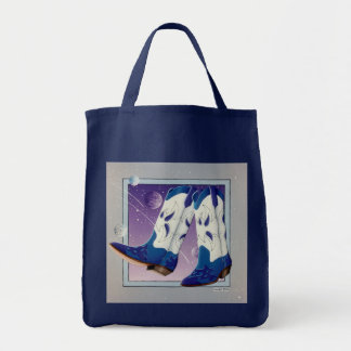 Grocery Tote, Bag - Electric Slide Cowboy Boot