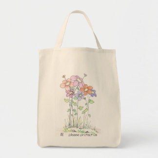 grocery tote bag:  flowers