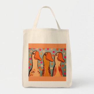 Grocery Tote Bag with Bright Three Duck Design