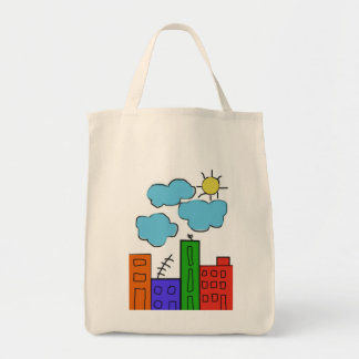 grocery tote bag with colorful houses