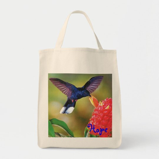 "Grocery Tote ""Blue Hope Hummingbird """