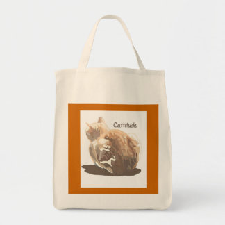 Grocery Tote-Cattitude Tote Bag
