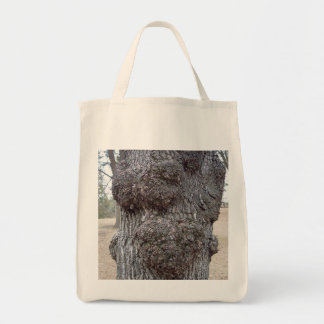 Grocery tote featuring tree bark photo.