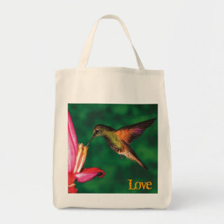 "Grocery Tote ""Love Hummingbird "" Grocery Tote Bag"